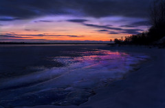 Icy Sunset (Billy Wilson Photography) Tags: blue trees winter sunset cloud snow ontario canada cold reflection tree ice nature wet water night clouds digital canon reflections river dark landscape eos rebel lowlight bright tripod january atmosphere bluehour xs soo northern saultstemarie northernontario algoma billywilson