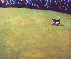 The Yard (Sarah Stupak) Tags: dog pets cute art beagle animals illustration painting relaxing peaceful