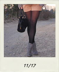 shorts with tights, shorts and boots, shorts to work, scarf tied in a bow, 11-17 outfit+what I wore