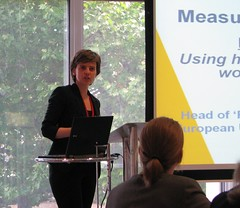 Jo Goodey from the Fundamental Rights Agency giving a presentation at 'Measuring Equality Outcomes'