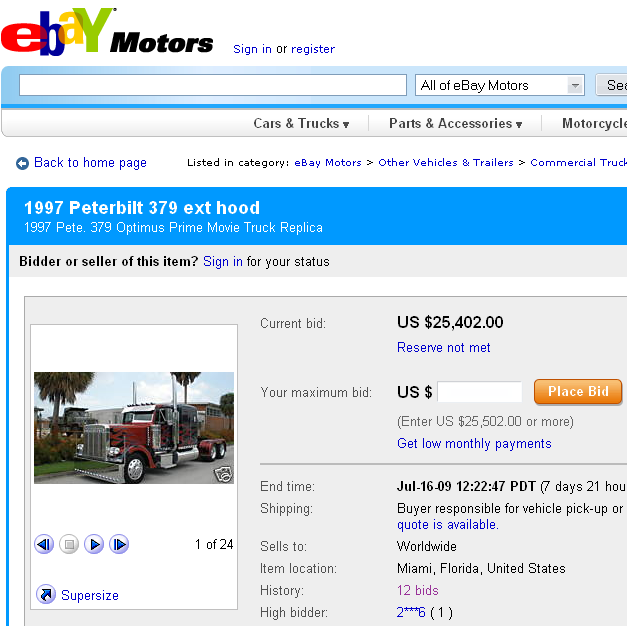 eBay Peterbilt Optimus Prime