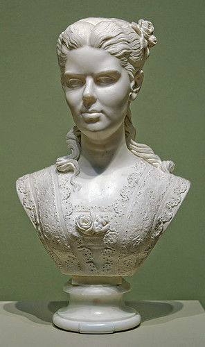 "Marble bust, ""Portrait of a Woman"", by Edmonia Lewis, 1873, at the Saint Louis Art Museum, in Saint Louis, Missouri, USA"