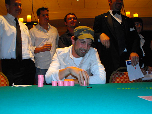 Our generous first-place winner makes his moves at the final table.