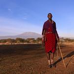 Maasai man and Kilimandjaro - Kenya