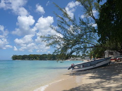 (orange_enigma [away for now]) Tags: ocean blue sky tree beach nature water clouds swimming coast boat sand bubbles foam tropical barbados caribbean westindies holetown thechallengefactory
