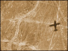 Shadow as photographed from shadow (Now and Here) Tags: shadow peru lines sepia plane airplane desert fb explore ica nazca mostviewed nasca view500 explore129 fave10 fave50 fave25