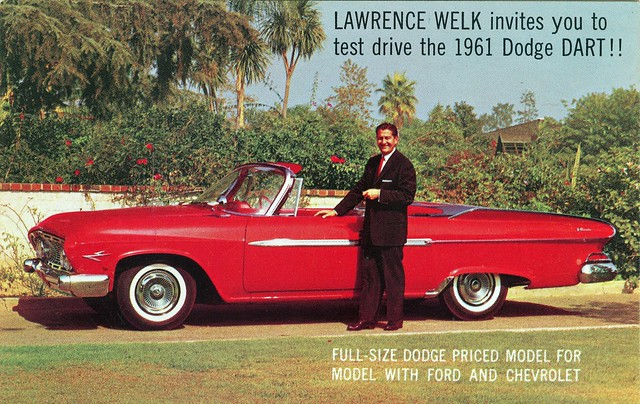 postcard convertible dodge dart 1961 lawrencewelk