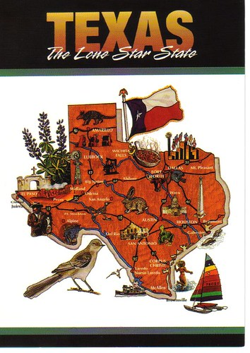 Texas map postcard by paflip25