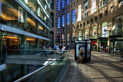The Courtyard (Explored) (Brandon Godfrey) Tags: world pictures city windows summer urban canada reflection glass reflections landscape photography scenery downtown cityscape shot photos shots pics earth britishcolumbia sony scene creativecommons pedestrians pacificnorthwest northamerica alpha dslr robsonst librarysquare 2009 vancouverpubliclibrary vancouverbc hdr highdynamicrange tdcanadatrust centralbranch hamiltonst lowermainland a300 tdbank innercourtyard metrovancouver georgiast homerst tonemapped tonemapping dslra300 sonya300 100commentgroup 350westgeorgiastreet architectmoshesafdie tamronaf28200mmf3856xrdi