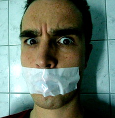 Shhh ! (19/8/9 - 117/365) (linkiseb) Tags: portrait selfportrait man male men guy scary autoportrait bondage silence scotch 365 shh homme silenced mec chut peur 365days 365project