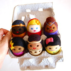 Egg Box people (asherjasper) Tags: girls people wool children toys colorful dolls kawaii eggs multicultural eggbox needlefelted