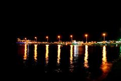 dark night (mkurtel) Tags: sea reflection night turkey boat nikon iskele seaport d60 nikond60 akay