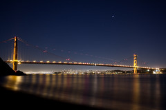 Kirby Cove (1 of 1) (After Dark Photo) Tags: ocean sanfrancisco longexposure nightphotography bridge blue beach water plane stars waves nocturnal pacificocean goldengatebridge planes astronomy nightsky nocturne marinheadlands startrails kirbycove npy afterdarkphoto