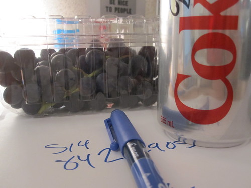 Grapes and a Diet Coke from home