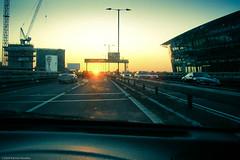 Sunbound (Tobymutz) Tags: road uk sunset urban west car crossprocessed construction driving traffic motorway interior m4 westbound flyover brentford lightroom greaterlondon