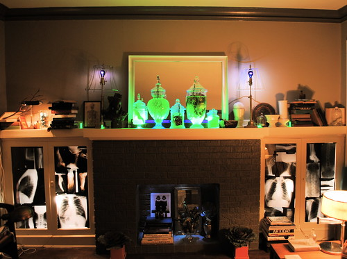Mad Scientist's Mantle with Glowing Specimen Jars and X-Ray Cabinets
