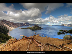 Wizard Island - Crater Lake Oregon 3 (David Gn Photography) Tags: sky clouds oregon landscape volcano craterlake hdr wizardisland craterlakenationalpark rimdrive mountmazama sigma1020mmf35exdchsm canoneosrebelt1i