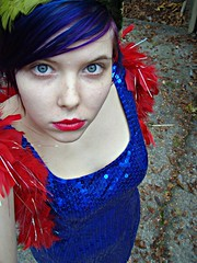 Blue and Red (Megan is me...) Tags: lighting pink blue light red portrait orange sun color green colors hat fashion self vintage ball hair effects nose photography grey one diy clothing crazy model glamour eyes colorful neon pretty colours russell dress natural bright modeling turquoise unique awesome meg feather plum megan style special clothes kind boa jerome colored redlips iridescent lipstick gown atomic punky dyed napalm glamorous sequin feckles megface meganisme greygreenblue