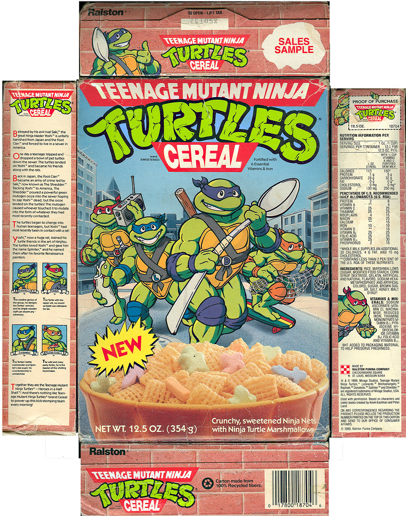 "Ralston ""Teenage Mutant Ninja Turtles"" Cereal - Sales Sample i (( 1989 ))"