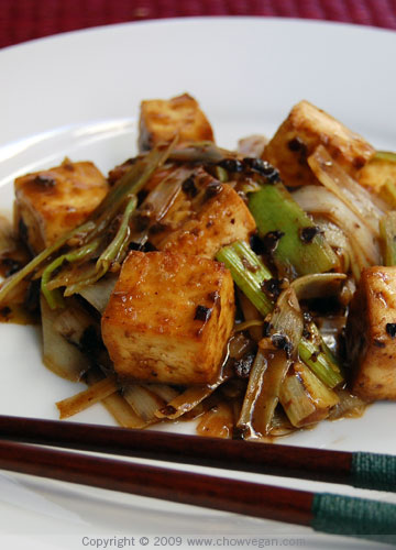 Roasted Tofu with Leeks and Black Bean Sauce