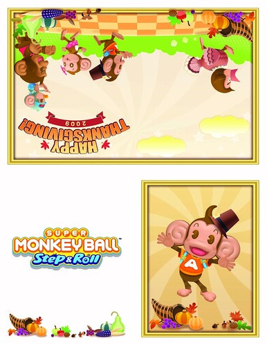 Super Monkey Ball Step & Roll Happy Thanksgiving Card