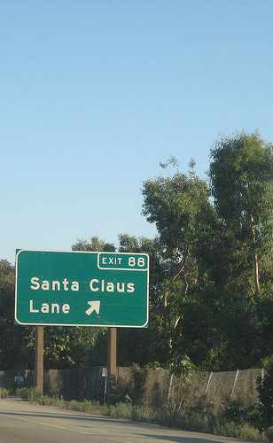 The road sign for Santa Claus Lane.