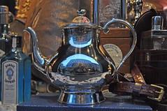 Piccadilly - W1 (Malcolm Edwards) Tags: uk england selfportrait reflection london window shop night silver display zoom unitedkingdom piccadilly teapot malc w1 fortnumandmason coffeepot