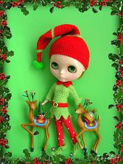 Little elf and raindeers