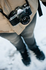 Canon (victoria.anne) Tags: camera winter snow film canon shoot andrea jacket oldie ilovethisphoto iwishiownedacanonfilmcamera