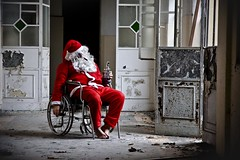 Fuck the deliveries (Funky64 (www.lucarossato.com)) Tags: santa christmas xmas abandoned ex drunk jack insane fuck decay wheelchair bad noel dan