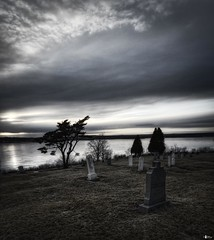 (The Nature of Things) Tags: sunset canada graveyard novascotia nikond70s capebreton tombstones cs4 photomatix mirariver hdr3ex niksfilters grandmirasouth