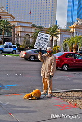 The end (The Amateur Photo Man) Tags: vegas sleeping red dog man cars car lasvegas near flag taxi homeless poor end leash endiscomming bijanphotography
