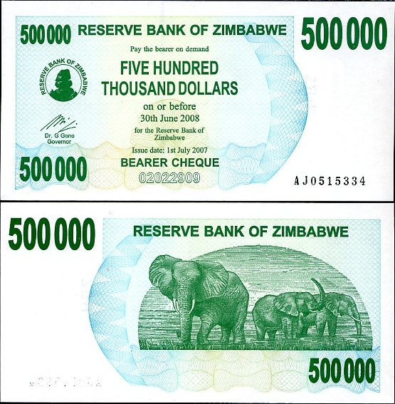 500 000 dolárov Zimbabwe 2007, bearer check