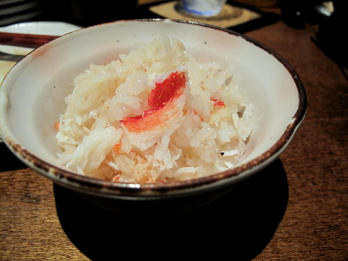 steamed rice with king crab at Okan