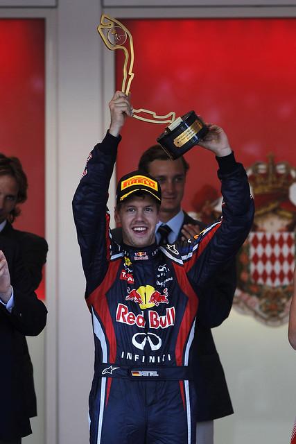Sebastian Vettel, Red Bull Racing RB7 Renault Podium - Monaco GP 2011