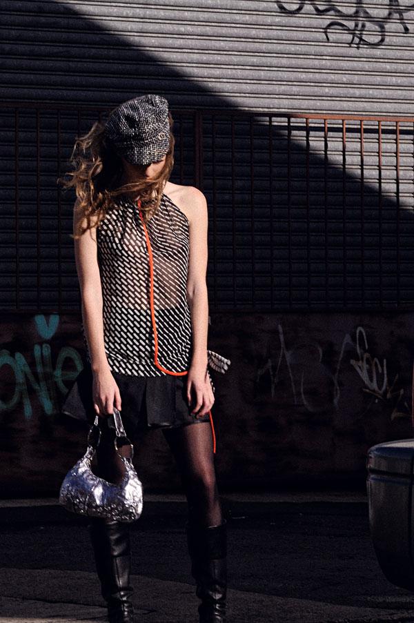 Rapture in Sydenham, Shot 7,Alicia Hollen Adeola (Rung) Top & Black Bella Skirt, Thrift Shop 'New' Engineers Cap & Silver Handbag, Boots models own. 600_5423 copy