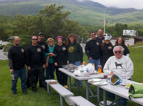 This group is enjoying a little grillin', visiting from NH and MA.