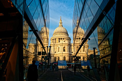St Pauls Morning (scottprice16) Tags: england london classic cathedral st pauls dome christopher wren architecture old new reflections glass sky sunshine morning winter february leicaxvario leica