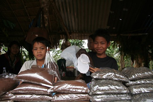 """דוכן """"קפה לאו"""" בלאוס. ביד: שקית הבד המשמשת כפילטר. צילום: Babomike"""