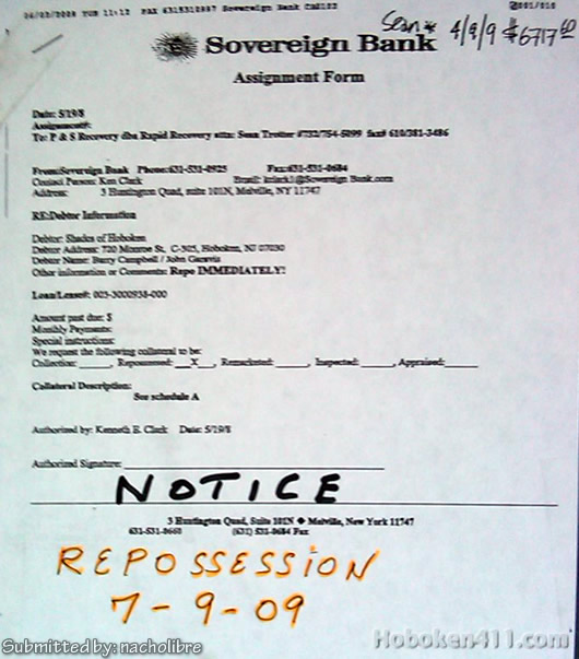 Shades of Hoboken repossession notice July 9 2009