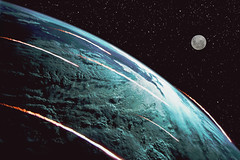 War of the Worlds, most of the earth satellites fall from there orbits. (Craig Wilson Photography) Tags: blue sky moon black clouds composition photoshop dark fire war view fireworks earth space alien story worlds invasion asteroid cs3 gases entity reentry