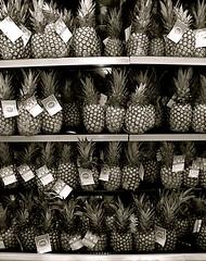 ananas! (red_head_shan) Tags: bw white black fruit many bananas pineapple ananas plenty lots multitude cornucopia tons shitloads aplethora