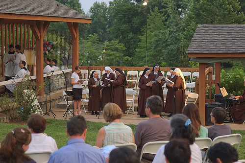 Outdoor novena at the Discalced Carmelite Novena, in Ladue, Missouri, USA - nuns singing