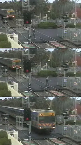 Idiot at Bentleigh level crossing