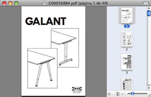Captura de pantalla de un manual de IKEA de mesa GALANT