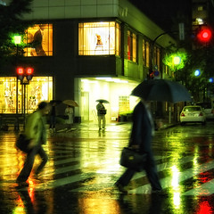 COLOR OF RAIN (ajpscs) Tags: street nightphotography people color mannequin rain japan umbrella japanese tokyo interestingness nikon streetphotography pedestrian explore  nippon  d100 crosswalk windowdisplay frontpage yurakucho pedestriancrossing signallight  yrakuch  ajpscs aplusphoto