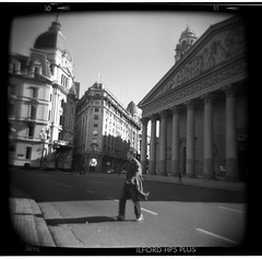 time traveler (Celeste) Tags: street winter man argentina buildings holga buenosaires plazademayo yuppie catedralmetropolitana