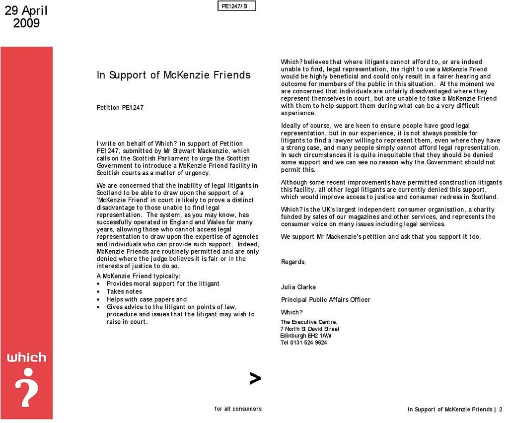Which support McKenzie Friends for Scotland