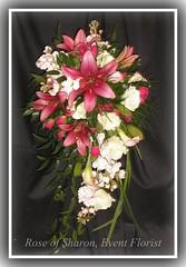 Cascading bouquet: pink lilies, white roses, tree fern, ruscus & lily grass~