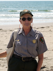 """This is a beach, and we're walking on it."" (qnr) Tags: people woman ranger nps corpuschristi subject nationalparkservice beachwalk usaunitedstates padreislandnationalseashore txtexas malaquitebeach 10millionphotos suzyevans 200000000stagelovers malaquitevisitorcenter ross200908288280935"